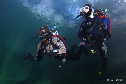 Divers Using Dry Suits
